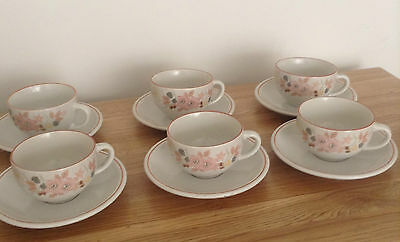 BOOTS HEDGE ROSE CUPS AND SAUCERS