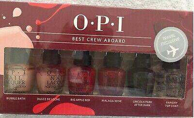 NEW O.P.I BEST Crew Aboard OPI Nail Polish 6 x Varnish Travel Manicure Gift Set