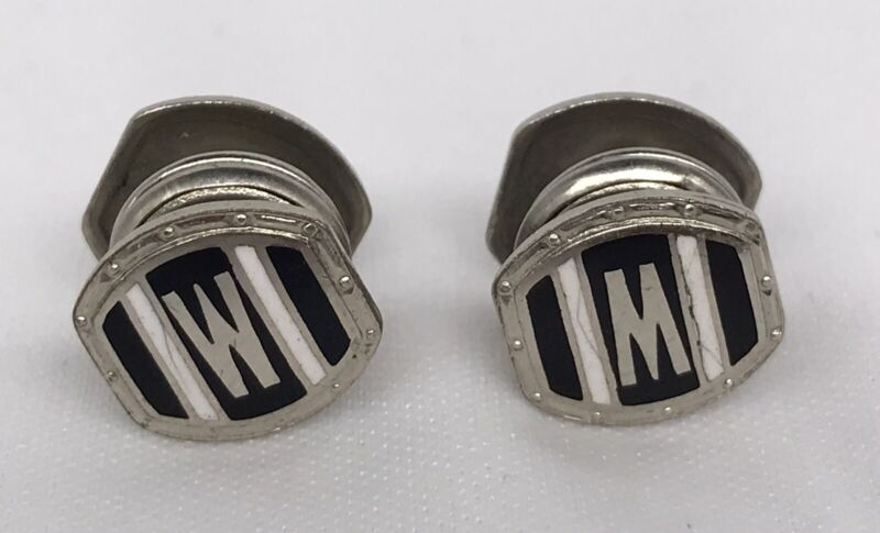 Vintage 1920s Deco B&W Kum-A-Part French Cuff Buttons W / M