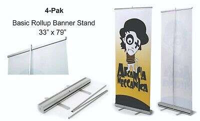 4 Retractable Roll Up Banner Stand Display 33 X 79 - 4-pak Free Shipping