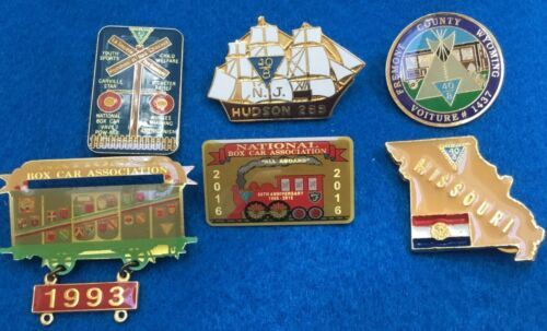 Nice lot of Forty and Eight Society Veterans and Boxcars pins