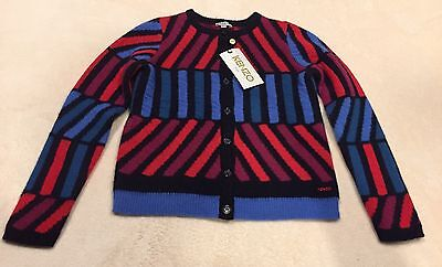Kenzo Kids Red And Blue Striped Cardigan Sweater Top Size 10