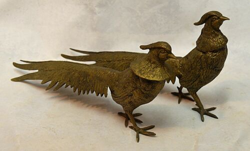 Vintage Collectible Pair Brass Male Female Strutting Pheasant Figurines