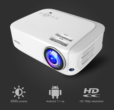 CRENOVA 6000 Lumens Android Video Projector Support 4K Dolby Home Cinema Beamer