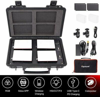 Aputure Amaran AL-MC RGB Led Video Light 4 Light Travel Kit with Charging Case