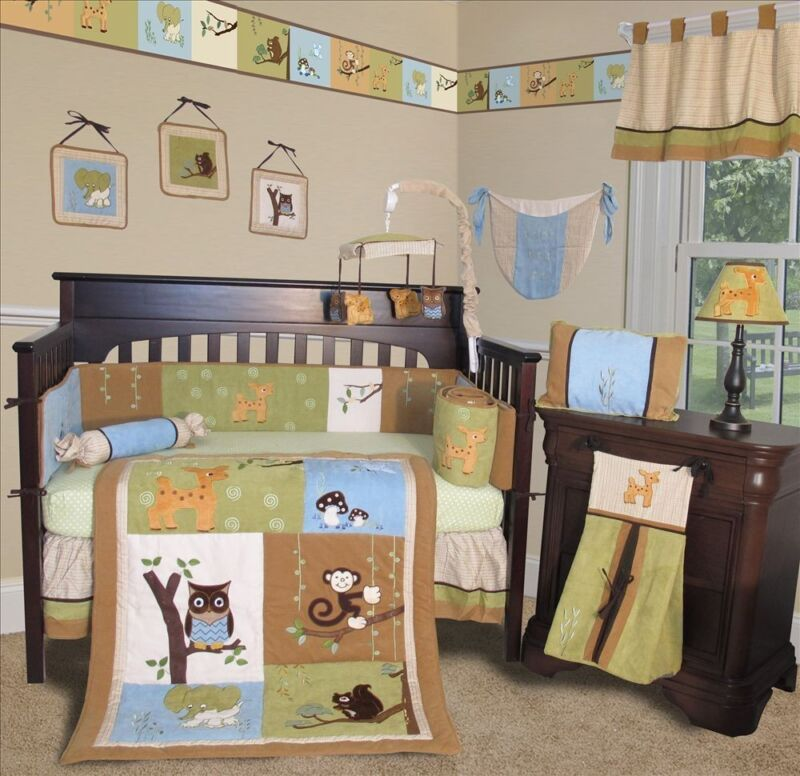 Baby Boutique - Forest Friends - 13 pcs Crib Nursery Bedding Set