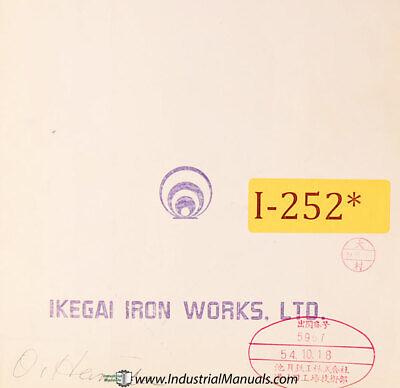 Ikegai Ax25n Lathe Parts And Assemblies Ipl-141 Manual Year 1954