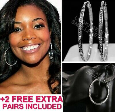 2.5 Inch Silver Gold Rhinestone Crystal Small Medium Hoop Earrings +2 FREE Pairs - Gold Small Crystal