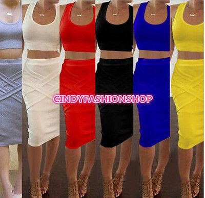 New Women Crop+Skirt  Sexy Bandage Bodycon Two Piece Sleeveless Club wear Dress  Two Piece Skirt