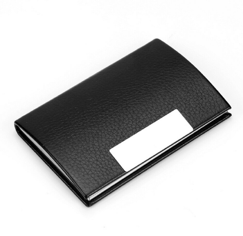 PU Leather Pocket Card Holder Metal Business ID Credit Card Holder Case Wallet Clothing, Shoes & Accessories