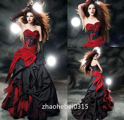 Fashion Red Black Wedding Dresses Taffeta Gothic Halloween Bridal Gowns Custom