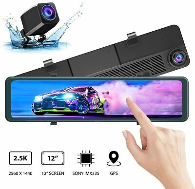 "AKASO 2.5K Mirror Dash Cam 12"" Touch Screen Dual Front/Rear Cameras GPS Night"