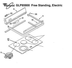 GLP85800 GLSP85900 WHIRLPOOL KitchenAid ,Range surface element, Ceramic Glass , Electric Timer