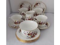 Vintage Queen Anne 18 Pc Tea/Coffe Rose Design Set Shabby Chic Beautiful Great for Christmas
