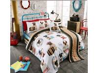Pug kingsize bed set including bed runner