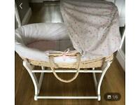 Mothercare confetti Moses basket and rocking stand