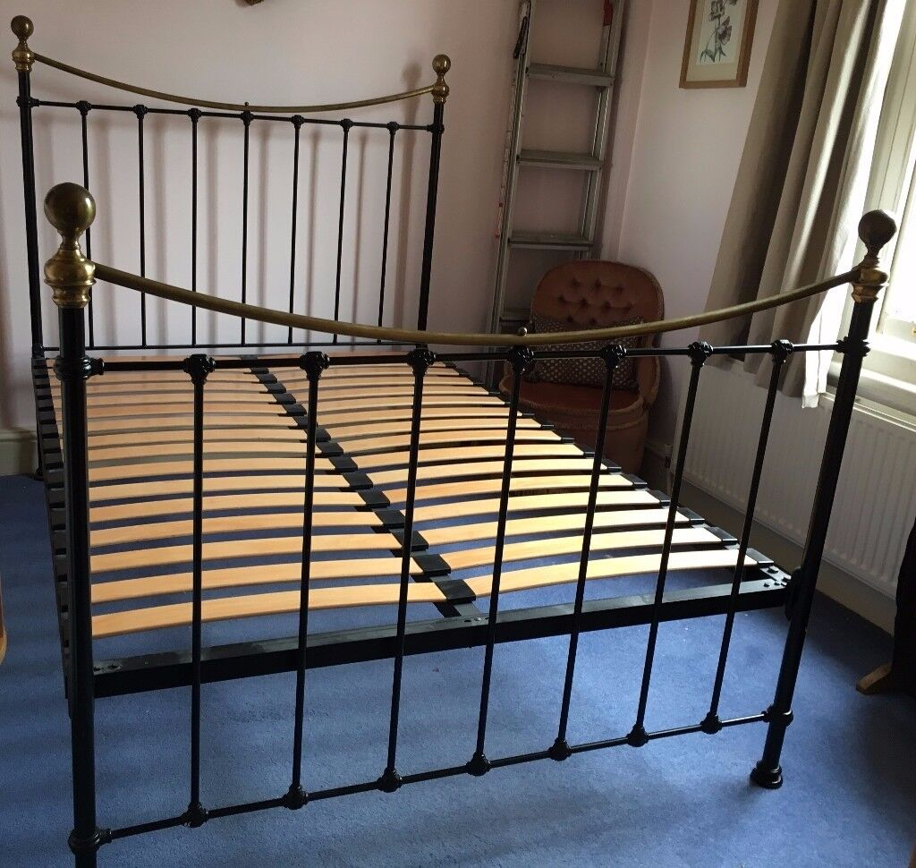 Laura Ashley black metal double bed frame, with or without mattress ...