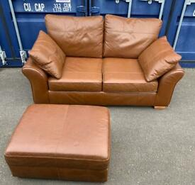 NEXT LEATHER 2 SEATER SOFA & POUFFE - FREE DELIVERY 🚚