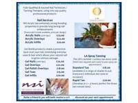 Fully Qualified and Insured Nail Technician / Spray Tan Therapist