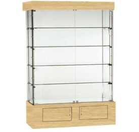 Brand New Oak finish Glass Display Cabinet with Lockable doors