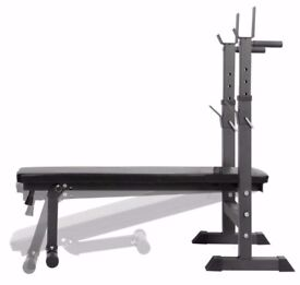 Adjustable Training Bench with Dip Station. Folding Weight Bench