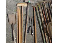 Vintage & modern Garden Tools, rakes, spade, fork, edger, shovel, brooms + poles & a vintage sieve