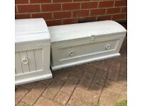 Set of 2 Hand Pained Wooden Pine Toy Box Storage Box Blanket Box Chest Trunk