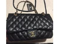 Chanel classic black lamb skin and gold hardware DUPE
