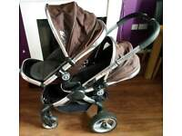 I Candy Peach double pushchair travel system with Maxi Cosi car seats for twins