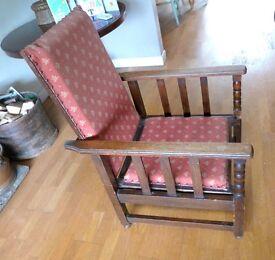 Vintage Oak Chair 1940/50s Adjustable Seat