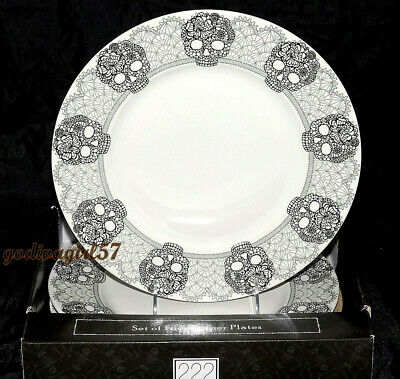 222 Fifth Skull Lace 4 DINNER PLATES Goth Halloween, Black & White, NEW IN BOX](Halloween Dinner)