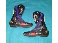 #SIDI #CARBON #MOTORCYCLE SPORTS BOOTS - BLUE GOOD CONDITION - SIZE 10 UK (EU45) - £50