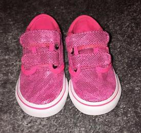 Girls pink shimmery vans. Size 4.5. Only worn a few times.