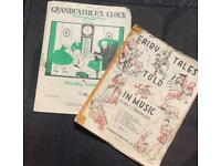 Vintage Joblot Bundle Children's Piano Sheet Music - Grandfathers Clock; Fairytales Told In Music