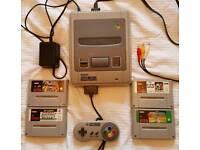 Super Nintendo SNES games console + 4 games. Original. Retro.