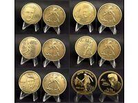 ELVIS PRESLEY Set of 7 Bronze and Gold Memorabilia Coins Proof America Commemorative Christmas Gift