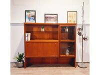 G Plan Style Vintage Mid Century Teak & Glazed Glass Retro Slim Drinks Cabinet Bookcase Sideboard