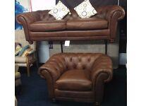 BRAND New!!!! Leather laz - boy* AMBASSADOR* CHESTERFEILD*3 seater sofa plus tub chair*BROWN*