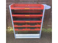 Van Racking / Shelving - BOTT - 5 Shelves - 1 Drop Down Cupboard - Heavy Duty - V G Condition