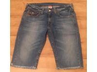 True Religion men's cut off denim shorts. Brand new. Waist 33. Blue