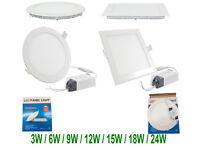 6Watts Led Recessed Panel Ceiling Down White Light Ultra Slim Round & Square Flat Panel uk