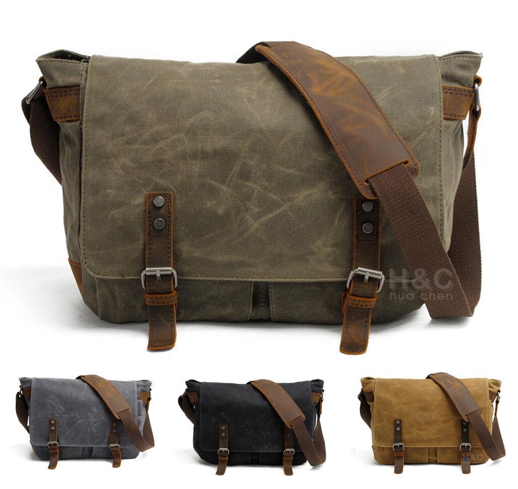 как выглядит Мужская сумка New Mens Vintage Canvas School Satchel Shoulder Laptop Crossbody Messenger Bag фото