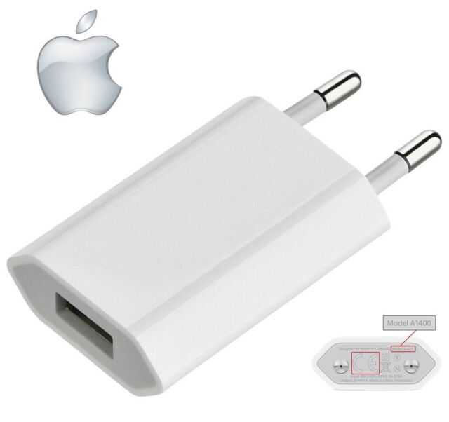 Genuine Apple A1400 EU 2 Pin Wall Charger USB Adapter For iPhone iPad iPod