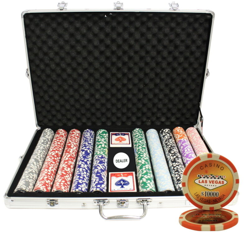 1000ct Aluminum Case Poker Chip Set Laser Vegas Custom Build