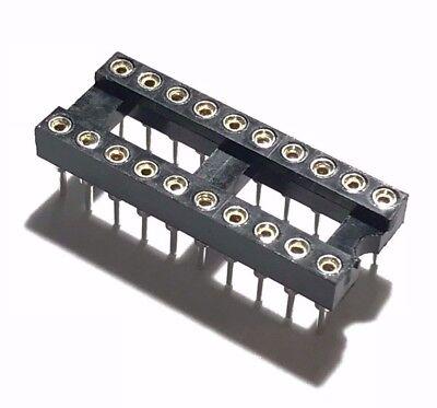 20pcs Ic Sockets Dip-20 Machined Round Contact Pins Holes 2.54mm Dip20 Dip 20