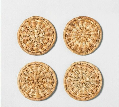 4 Pk Rattan Woven Coaster Set By Hearth & Hand With Magnolia- New