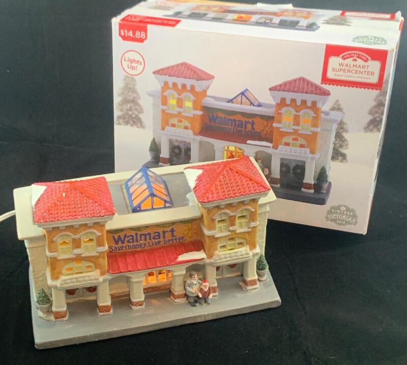 Vintage Victorian Walmart Store Christmas Village Light Up Store 2016 Rare