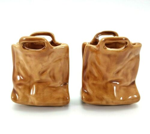 Brown Paper Bag Small Succulent Planters Vases with Handles Ceramic