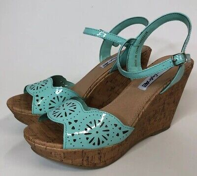 AMERICAN EAGLE TEAL WEDGE STRAP SANDALS CORK BOTTOM WOMENS OPEN TOE NEW Size -