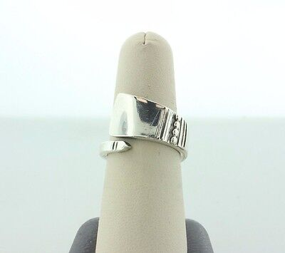 Vintage Reed & Barton Sterling Silver 925 Spoon Wrap Bypass Ring - Size 7.5